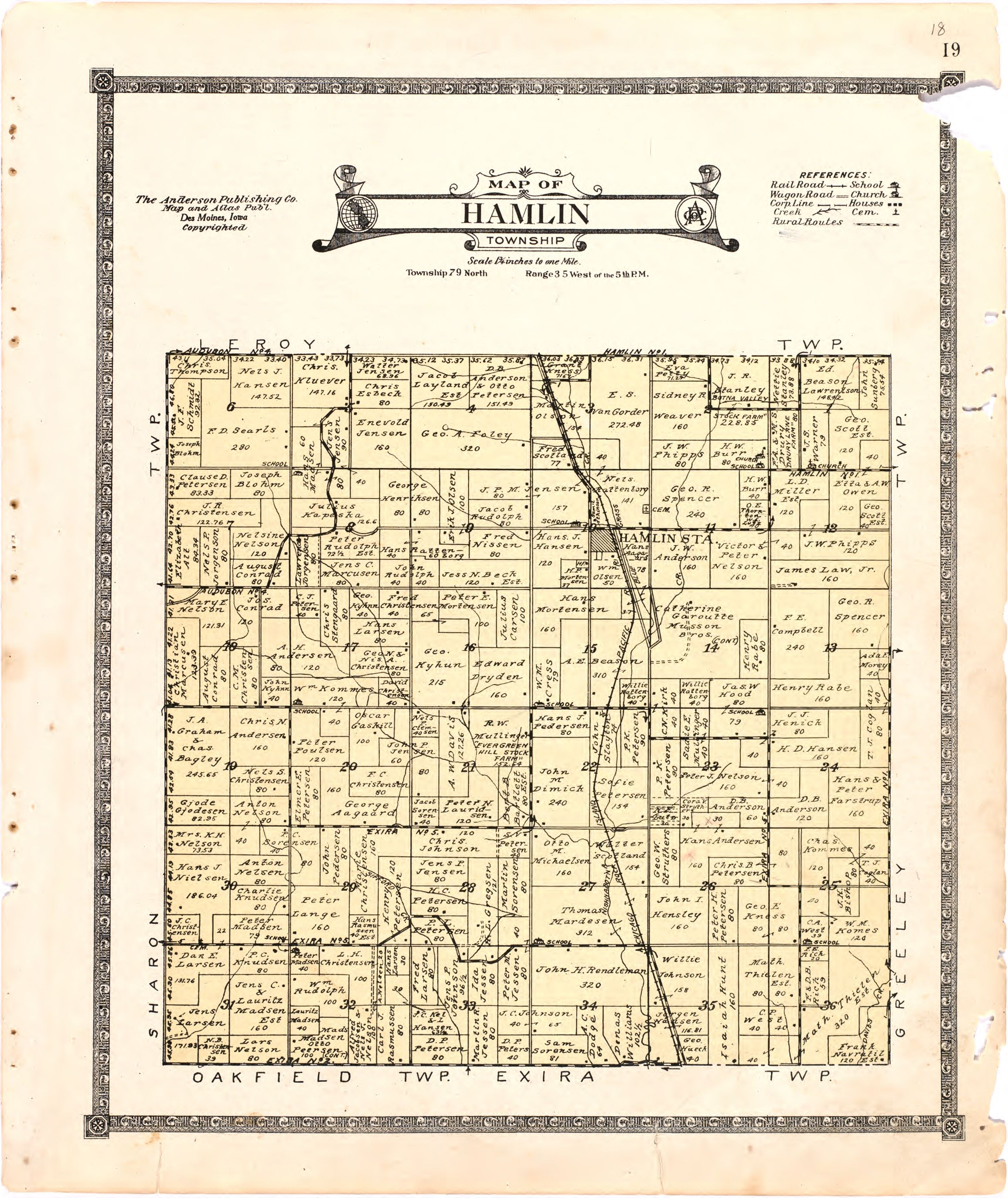 1921 Farm Map of Hamlin Township, Audubon County, Iowa