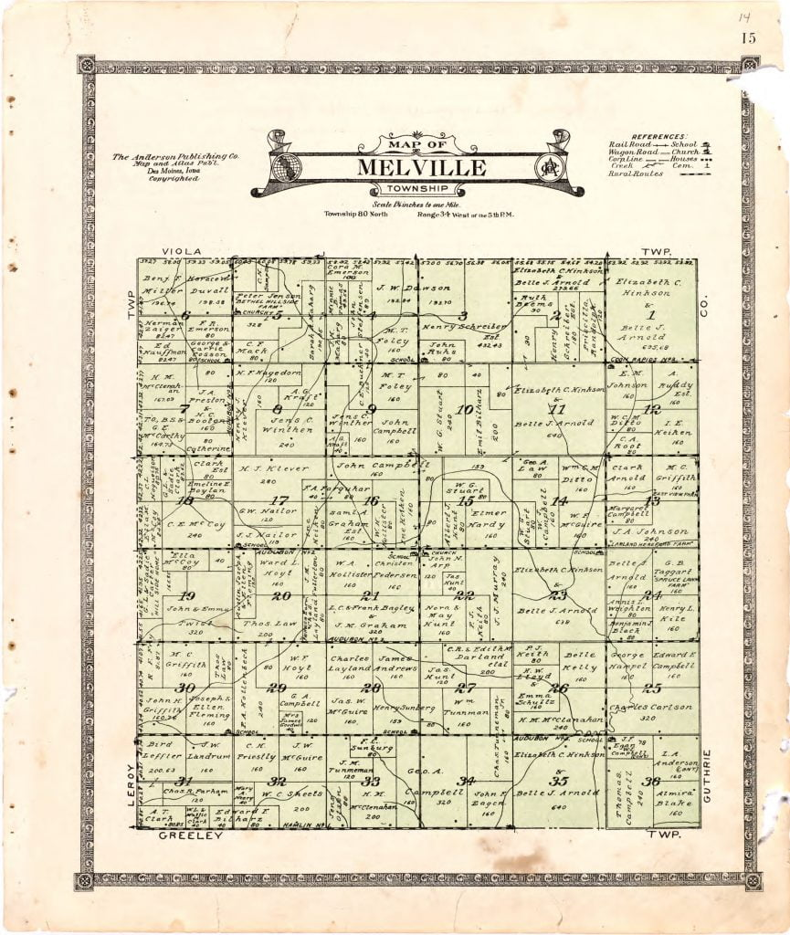 1921 Farm Map of Melville Township, Audubon County, Iowa