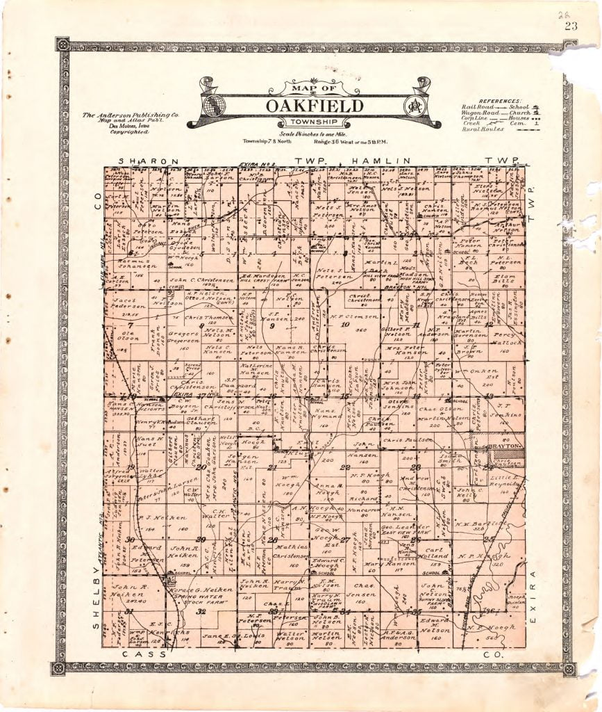 1921 Farm Map of Oakfield Township, Audubon County, Iowa