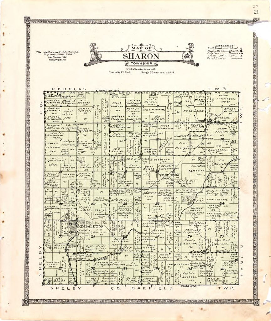 1921 Farm Map of Sharon Township, Audubon County, Iowa