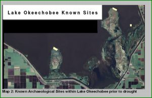 Known archaeological sites. Image courtesy of Preliminary Results of the Boyer Survey: An Archaeological Investigation Of Lake Okeechobee