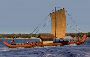A vector image of a Chontal Maya seacraft