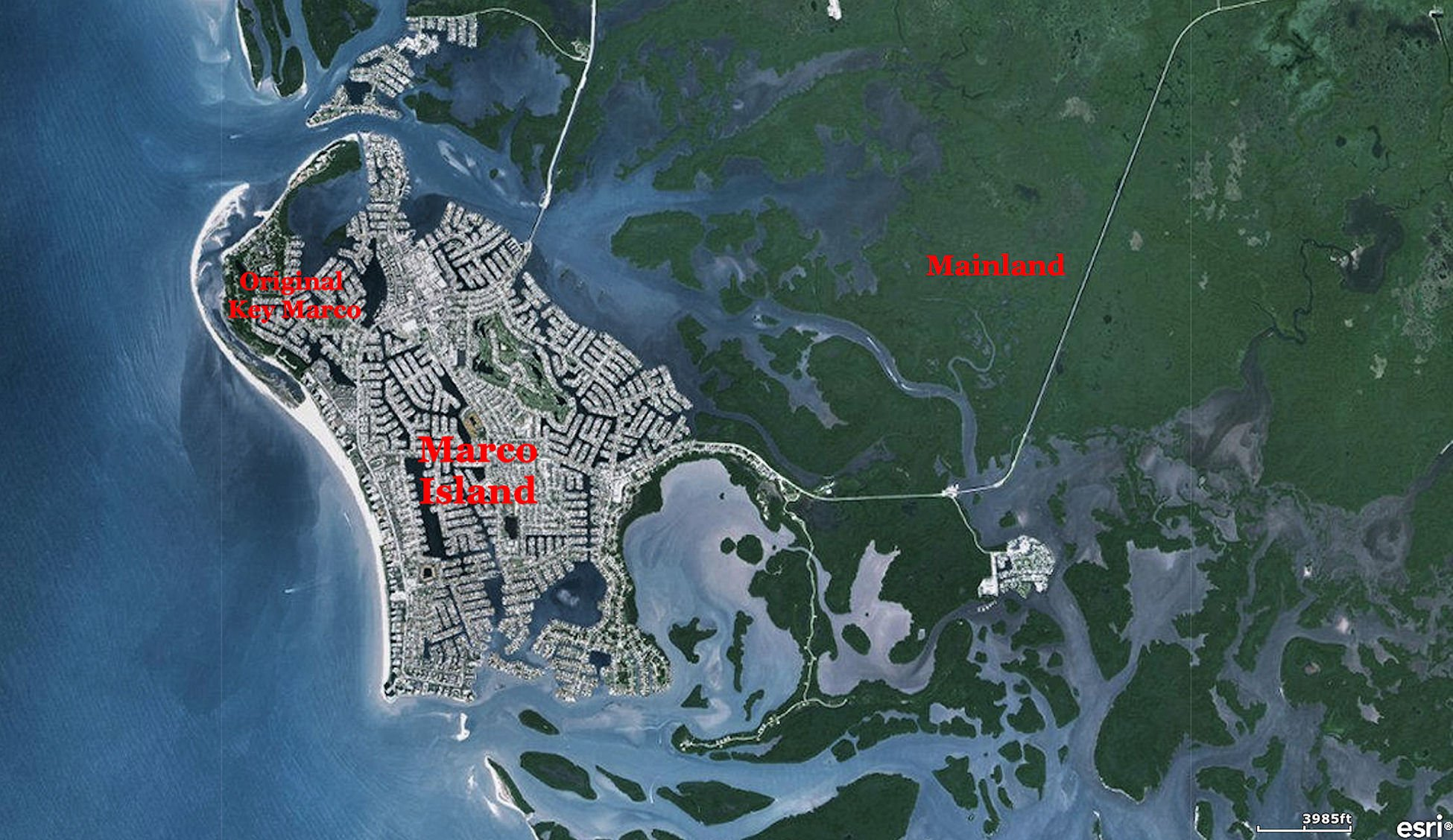 A satellite view of Marco Island