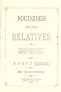 Title page of Kedzies and their Relatives