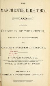 1889 Directory for Manchester New Hampshire