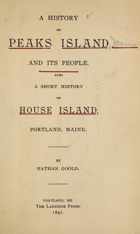 A History of Peaks Island and Its People