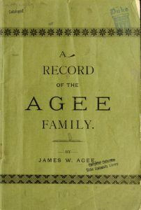 A Record of the Agee Family