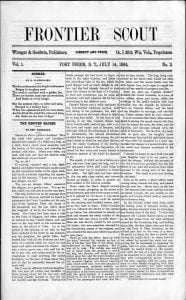 Second issue of the Frontier Scout, published on 14 July 1864
