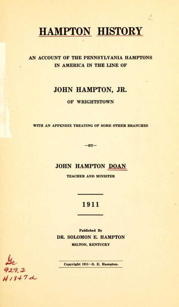 Title page to Hampton History