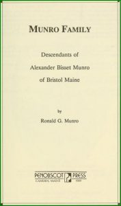 "Title page to the Munro Family. Click on book image to read book. Must be ""checked out"" first."