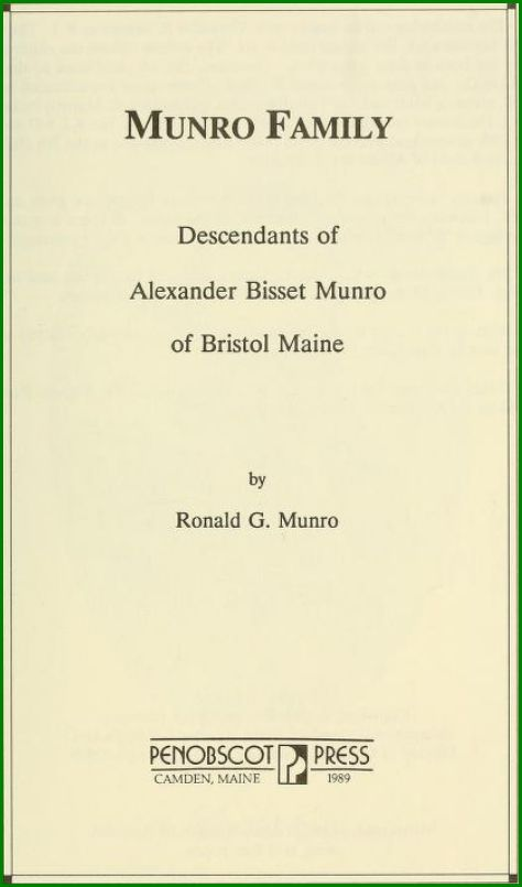 Descendants of Alexander Bisset Munro of Bristol, Maine 1