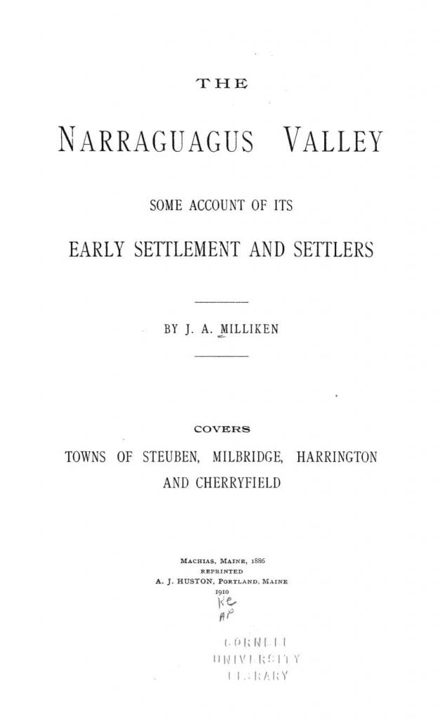 The Settlers of Narraguagus Valley Maine 2