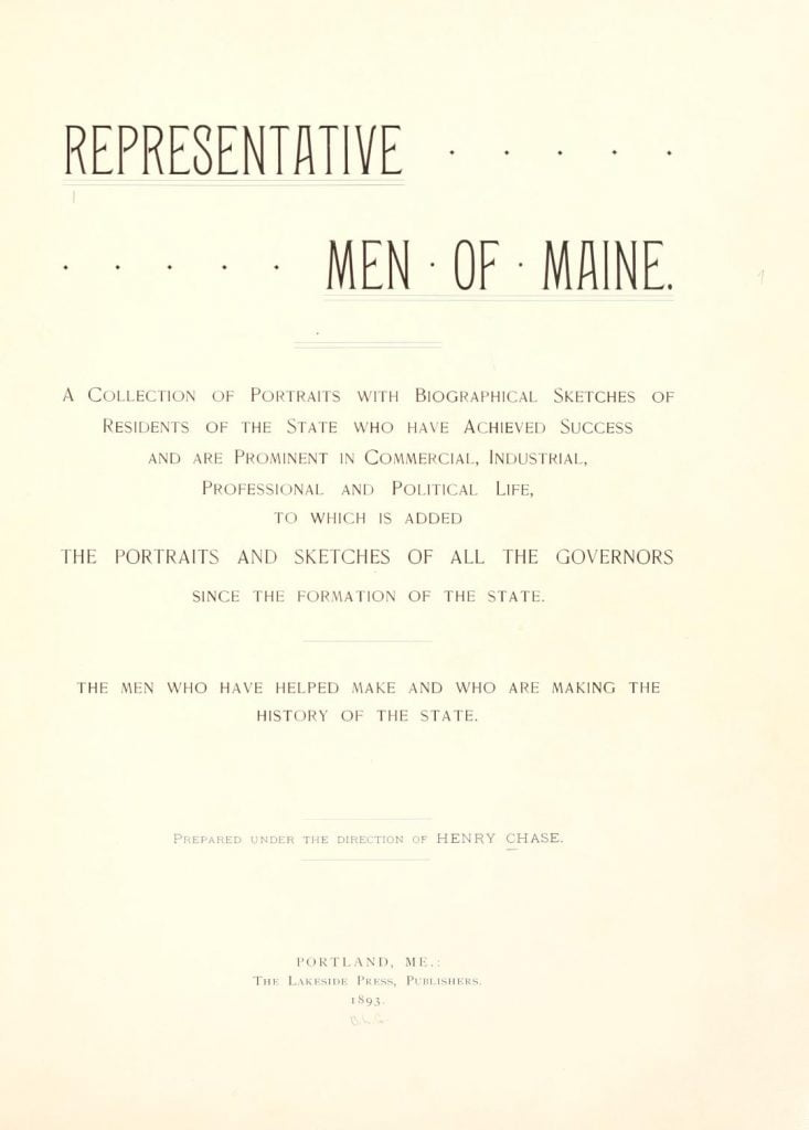 Representative Men of Maine Title Page
