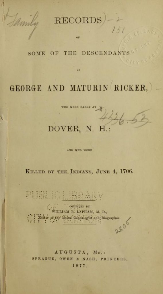 Descendants of George and Maturin Ricker 3