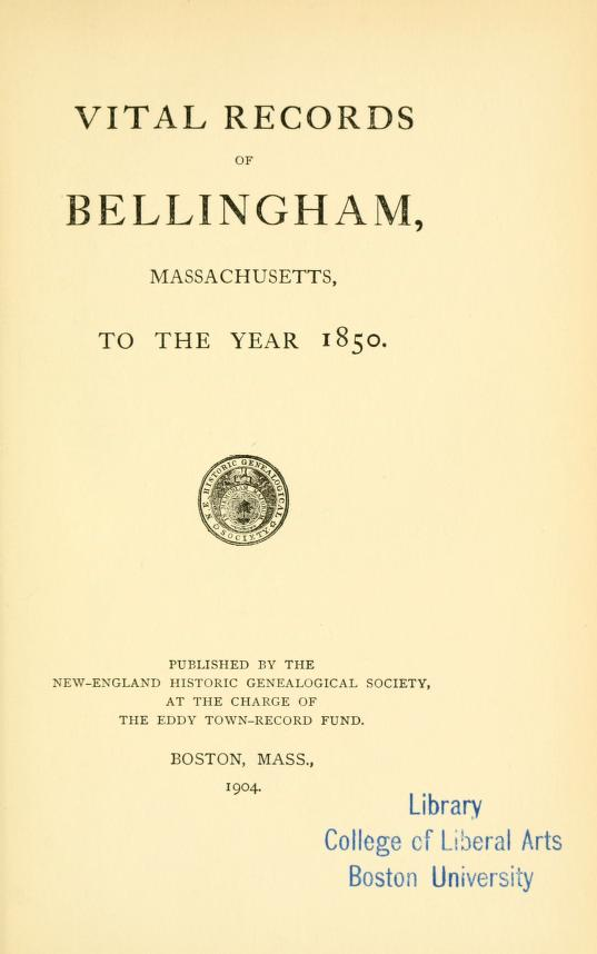 Vital Records of Bellingham