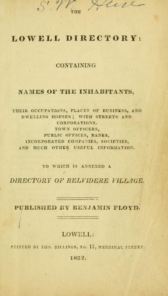 Title page to the 1832 Lowell Massachusetts City Directory