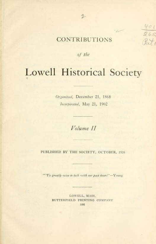 Contributions of the Lowell Historical Society