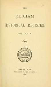 Dedham Historical Register vol 10