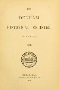 Dedham Historical Register vol 12