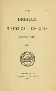 Dedham Historical Register vol 13