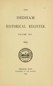 Dedham Historical Register vol 14
