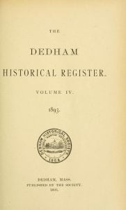 Dedham Historical Register vol 4