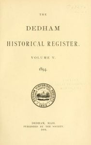 Dedham Historical Register vol 5