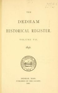 Dedham Historical Register vol 7