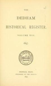 Dedham Historical Register vol 8
