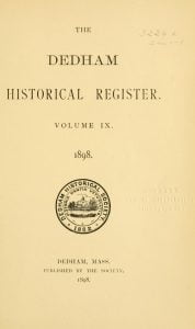 Dedham Historical Register vol 9