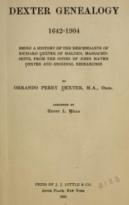 Dexter Genealogy Title Page