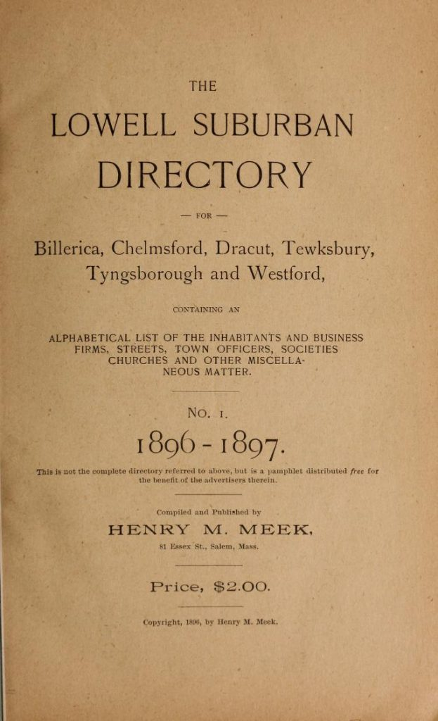 Lowell Suburban Directory for 1896-1897
