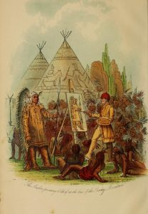 Catlin Painting a Chief at the Base of the Rocky Mountains