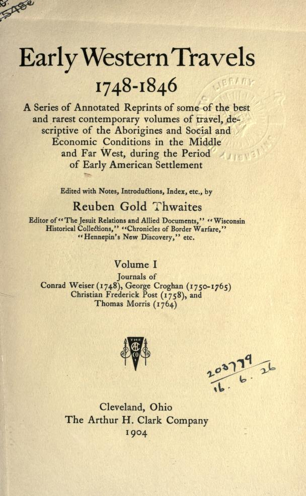 Early Western Travels Volume 1 Title Page