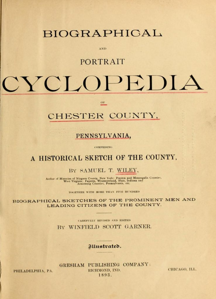 Title Page for Biographical and Portrait Cyclopedia of Chester County Pennsylvania