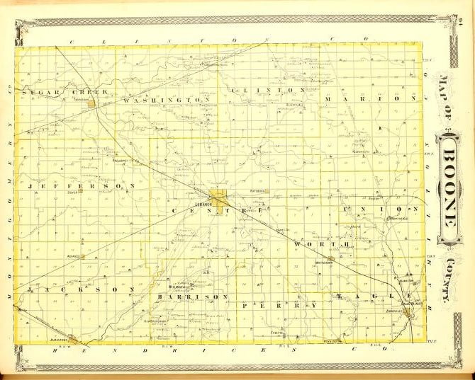1876 Historical Atlas of Boone County Indiana