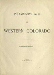 Title Page to Progressive Men of Western Colorado