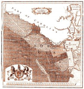 """This map shows what is labeled the """"County of Savannah"""" and is commonly attributed to having been prepared in 1740 in conjunction with the Trustees creating the """"County of Savannah"""" in 1741. However, stronger evidence suggests that the map was based on a sketch James Oglethorpe carried to England in 1734 and was subsequently published in a 1735 report on Georgia's Salzburger immigrants. T. F. Lotter, """"A Map of the County of Savannah,"""" 1735"""