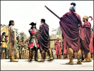 A painting rendering the meeting of Oglethorp, Chikili, and Mary Musgrove.