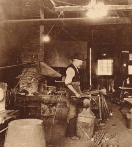 Edwin B. Macy at his Blacksmith Shop