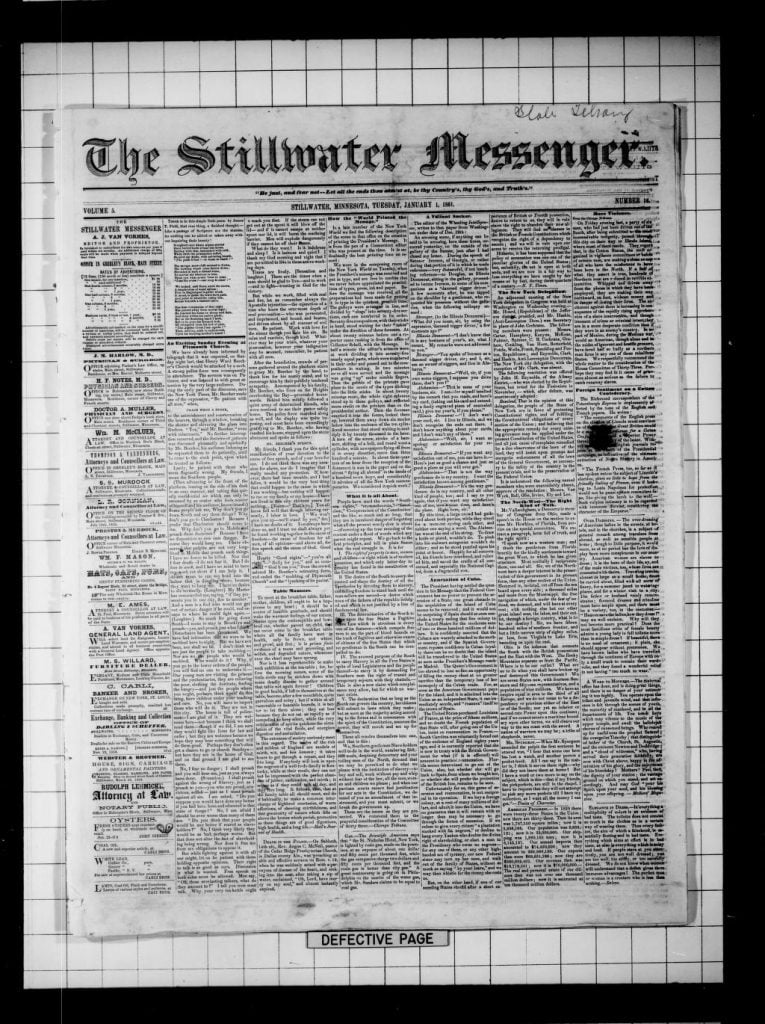 Front page of the Stillwater Messenger, vol 5 no 16