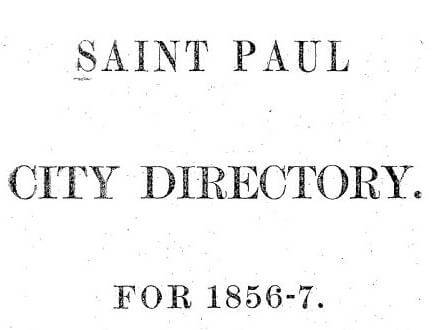 St Paul City Directory for 1856-7