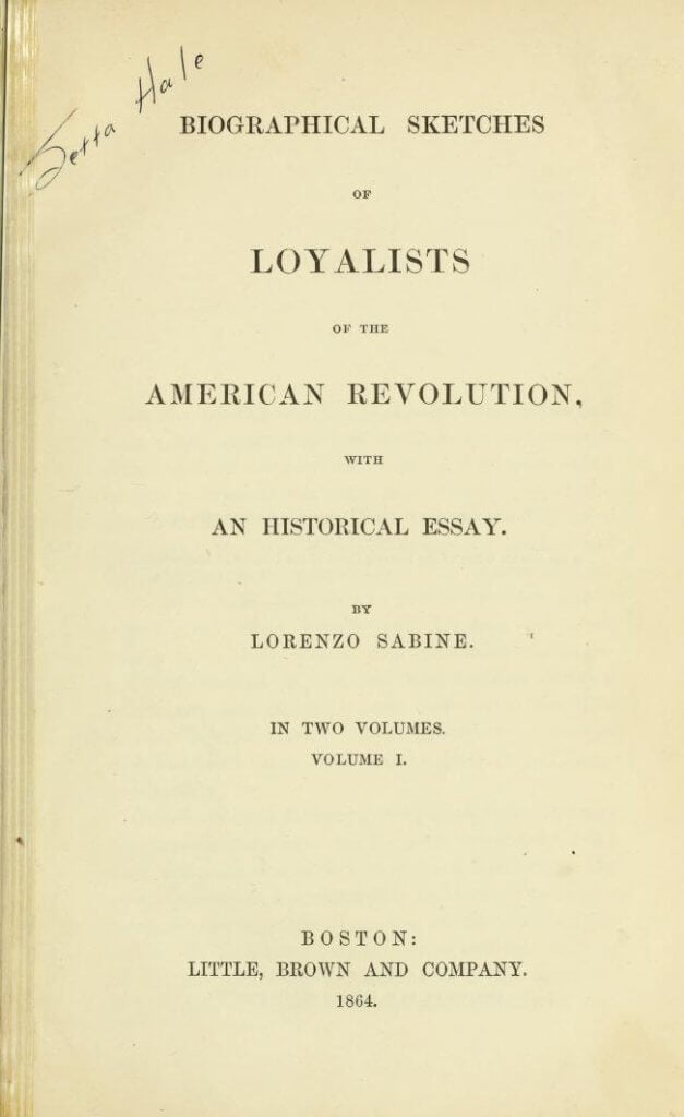Biographical sketches of Loyalists