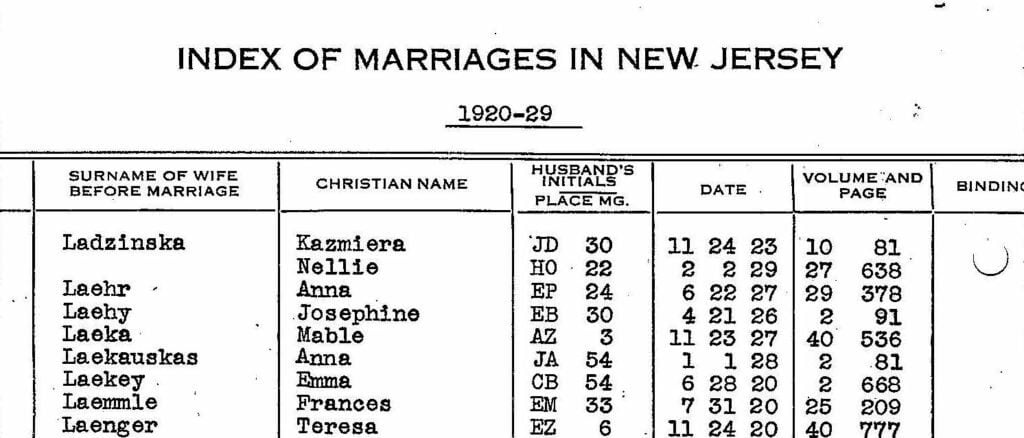 Index of Marriages in New Jersey