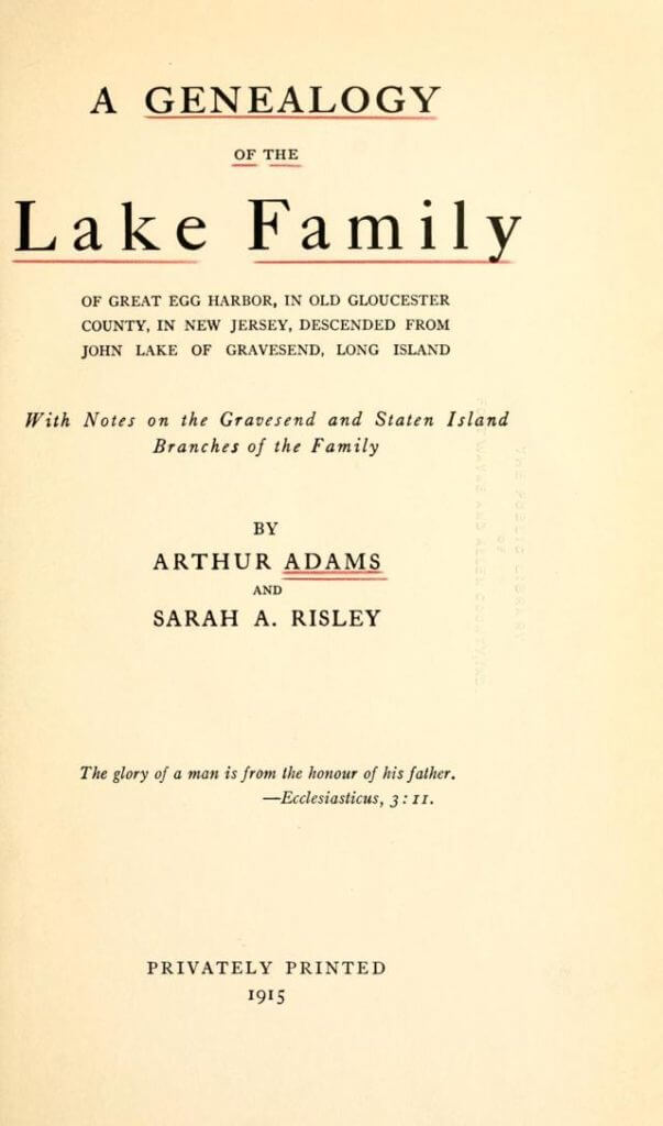 A Genealogy of the Lake Family - Title Page