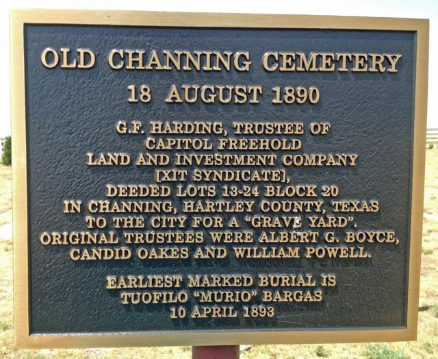 Old Channing Cemetery Plaque, Channing, Hartley, Texas