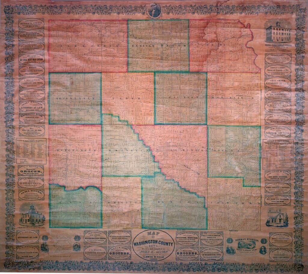 1859 Map of Washington County Iowa