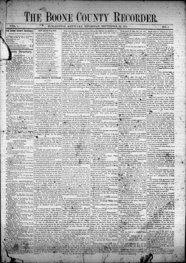 Boone County Recorder vol 1 No 1 23 Sep 1875 Issue