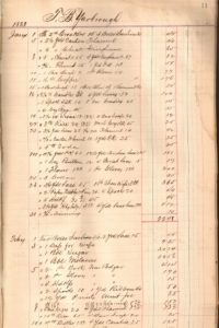A sample page from volume 1 of Thomas B. Yarbrough's Store Ledger he kept while in Honey Grove, Texas