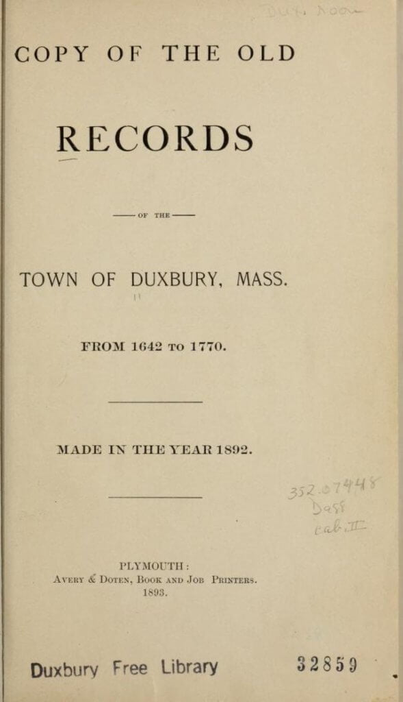 Copy of the old records of the town of Duxbury, Mass